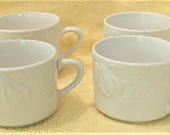 4 Tabletops Unlimited Fruit de Blanc Pattern Embosse3d White on White Coffee Tea Cups