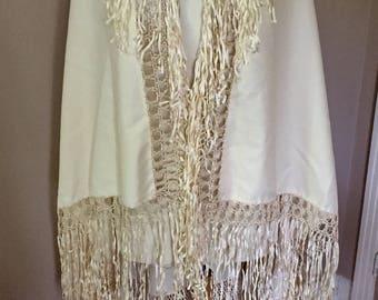 Vintage Embroidered Shawl Cream Tone On Tone Fringe