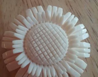 White Bakelite Sunflower Pin