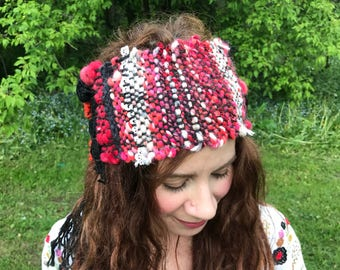 Red and black hand woven headband made of hand spun yarn, with lace, red boho headband, dreadlocks headband,Made in Canada, ONE SIZE