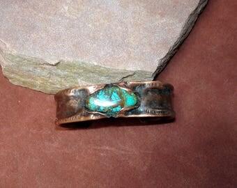 copper tubing cuff, textured copper cuff, unisex cuff bracelet, recycled copper cuff