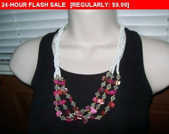 Pink faux shell necklace, multistrand beads, hippie, boho
