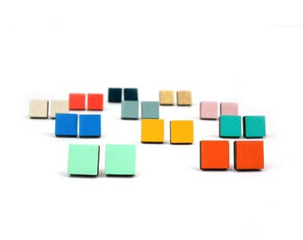 Wooden Square Stud Earrings - Geometric Jewellery - Rainbow Studs - Square Studs - Neon - Pastel - Mustard Yellow Earrings