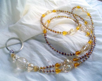 Honey Brown Lanyard Necklace, Lanyard id holder, Amber Brown Bead Assortment Glass Bead Lanyard, Nametag, Keychain, Necklace, Tigers Eye