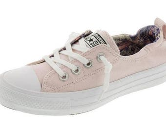 Pink Converse Shoreline Slip on Boat Blush Rose Petal flower w/ Swarovski Crystal Rhinestone Jewel Bling Chuck Taylor All Star Sneaker Shoes