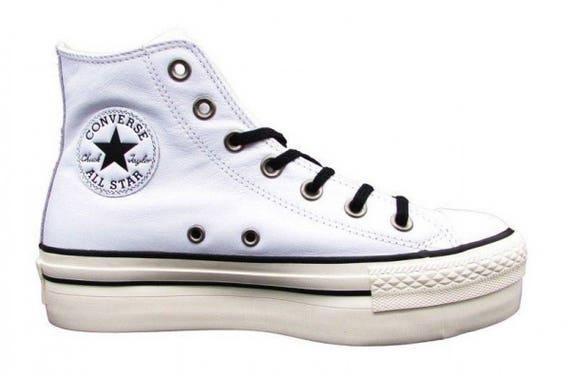 White leather Platform Converse High Top Ladies Club Kicks Custom w/ Swarovski Crystal Rhinestone Jewels Chuck Taylor All Star Sneaker Shoe