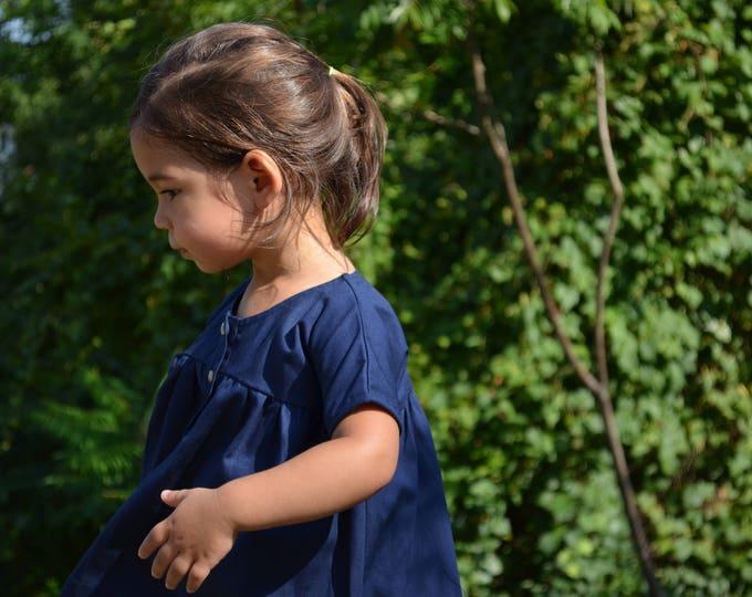 Navy Blue Girl's Dress - Empire Waist Dress - Size 2-3 Dress - Children & Toddler Clothing - Simple Girl's Dress - Handmade Wedding