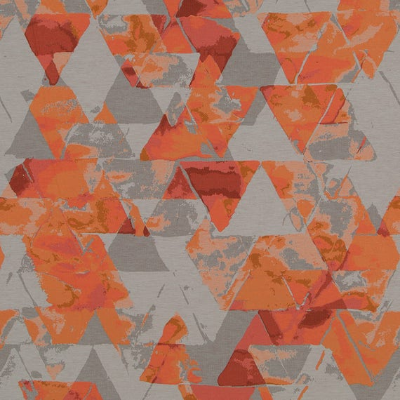 Orange Grey Upholstery Fabric Modern Coral Geometric