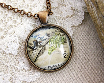 West Coast Beach Pendant, 1972 USA Postage Stamp Jewelry, Antique Copper Necklace, Seagull, Driftwood, Neutral Everyday Statement Necklace