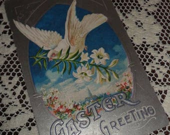 ON SALE Antique Vintage Victorian Easter Greeting Embossed Postcard Early 1900s Dove of Peace with an Easter Lily Blue Sky Silver background