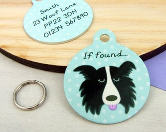 Border Collie Dog ID Name Tag Personalised