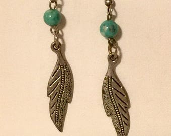 Turquoise bead with feather drop earrings