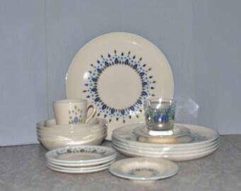 Stetson Marcrest Swiss Chalet Alpine Dinnerware ~ 19 piece set ~ Turquoise ~ Mid Century Dinnerware ~ Epsteam