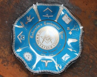 1976 Freemason Bowl ,Vintage Masons Bowl,Glass Masonic dish,Colorado Masons, MASONIC COMMEMORATIVE DISH Colorado Centennial 1976