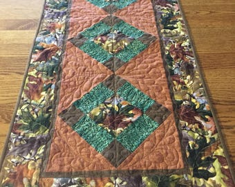 Fall Colors Table Runner Centerpiece Brown, Tan, Rust, Green, Beige