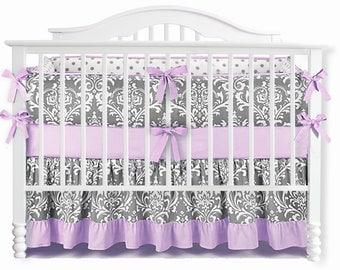 Grey & Purple Ruffle Damask Crib Bedding Set. Nursery Bedding. Baby Bumpers. Crib Sheet . Baby Crib Bedding