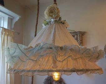 Boho gypsy canopy swag lighting antique netted hoop skirt reclaimed shabby cottage chic ceiling fixture gypsy wagon decor anita spero design