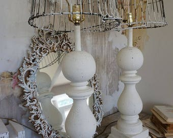 White table l&s wooden large baluster style distressed base w/ recycled rusty basket l&shade w & French white lace garland swag made from all vintage and azcodes.com