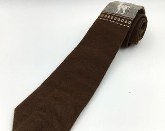 Vintage 1960s Brown Wool Souvenir Tie with Llama Underknot Design