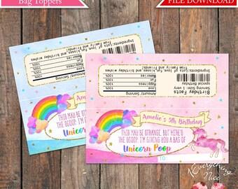 "Unicorn Rainbow 6.5"" x 2.5"" Treat Bag Toppers Digital Download"