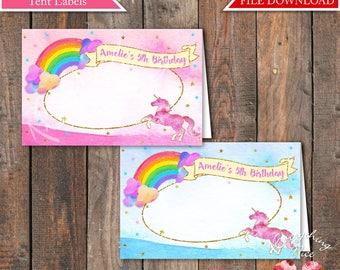 "Unicorn Rainbow 4.25"" x 2.75"" Food Tent Labels Digital Download"