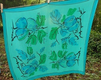 1960s VERA Neumann silk scarf made in USA  colors are deep Teal, black and green floral 30 x 30 Free USA Shipping