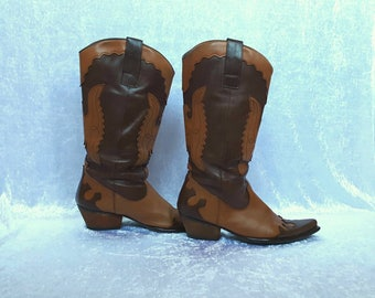 COWBOY BOOTS Genuine Leather Boots Light Brown and Dark Brown Boots Cowgirl Boots Vintage Cowboys Boots Cowgirl Leather Boots