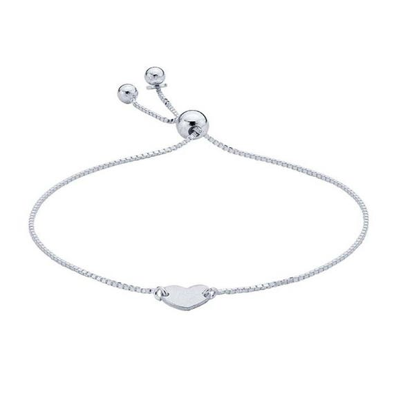 Silver Adjustable Bracelet, Heart Bracelet, Dainty Bracelet, Minimalist Bracelet, Silver Boho Bracelet, Tiny Heart Adjustable Bracelet
