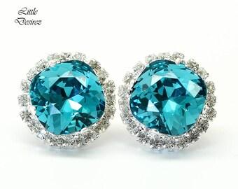 Bridal Blue Earrings Wedding Earrings Swarovski Crystal Stud Earrings Square Cushion Cut Sterling Silver Hypoallergenic Post Earrings IN50S
