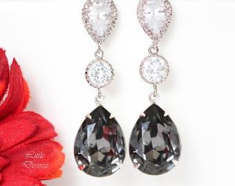 Dark Grey Earrings Swarovski Silver Night Earrings Black Diamond Earrings Smoky Grey Earrings Charcoal Bridesmaid Earrings SN31PC