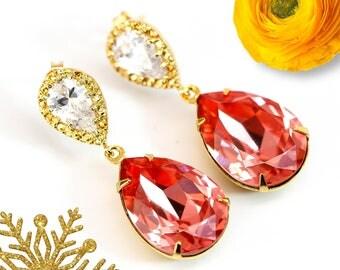 Coral Earrings Peach Earrings Bridal Earrings Swarovski Rose Peach Crystal Gold Earrings Bridesmaid Earrings Beach Wedding Jewelry CO31P