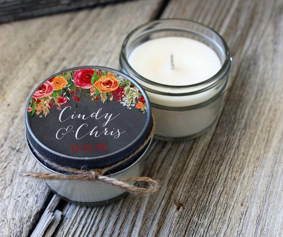 Set of 12 - 4 oz Candle Wedding Favor//Soy Candle Favor// Chalkboard Floral Wedding Favors//Boho Wedding//Fall Wedding