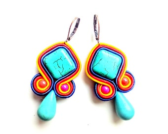 Earrings-Soutache Jewelry-Hand Embroidered-Colorful-OOAK Capri