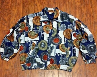 Vintage Retro 90s Fuda Oversized Slouchy Silk Coins Bomber Track Medallions Rapper Glam Hip Hop Crazy Funky Hipster Throwback Puff Jacket PL