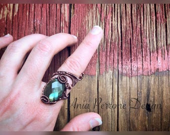 15% OFF SALE Wire Wrapped Ring Teal Labradorite Antique Copper Boho Steampunk