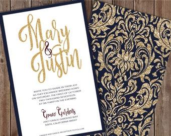 Burgundy Wedding Invitation, Burgundy and Navy Wedding Invitation, Navy and Gold Wedding Invitation, Burgundy and Gold Wedding Invitation