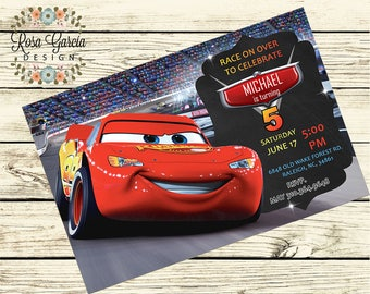 Disney CARS Birthday INVITATION - Boy Birthday Party Invitation - Digital File - Fully Customized - CARS - Birthday Card