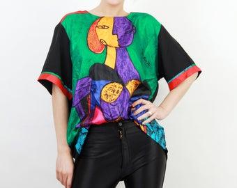 Picasso Shirt / Print Shirt / Painting Print Shirt / Paint Shirt / Cubistic Shirt / Picasso Art Design / Woman Shirt / Vintage Shirt