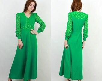 SALE 70s Green Dress / Green Maxi Dress / Guipure Dress / Maxi Long Dress / Large Green Dress / Vintage Dress / Green Dress / Evening Dress