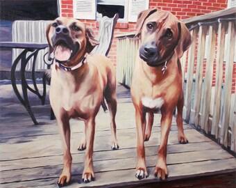 Pet Portrait - Custom Dog Painting - Dog Portrait - Pet Painting - Personalized Art - Dog Canvas