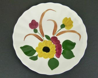 Three Ucagco Plates Saucers - Sunflower Daisy Pattern - Made in the USA - Blue Ridge Southern Potteries