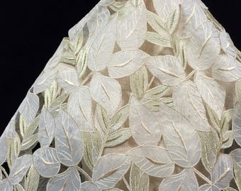 Embroidered Lace, Lace Fabric, Champagne/Gold Lace, Guipure Lace, Leaf Fabric, Guipure Material, Gold Lace, Champagne Lace, Remnant Fabric