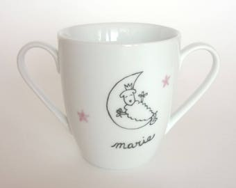 Double handles Cup Moon girl personalized porcelain