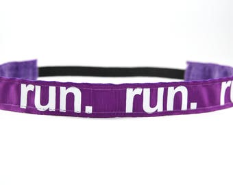 Purple Running Headband, Running Accessory, Gifts for Runners, Marathon Headband, Team Gift, Fitness Accessory, Nonslip Headband for Women