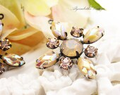 Vintage AB Taupe Petal, Sand Opal & Peach Swarovski Rhinestone Star Flower Pendant 30mm 1 Ring Brass, Black or Silver Ox Floral Setting – 1