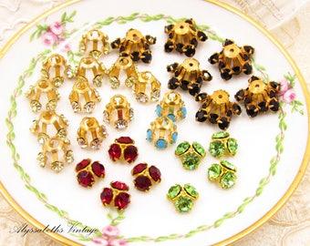 Vintage Swarovski Rhinestone Bead Caps Mixed Assortment, Crystal Findings Lot Siam Red, Jet Black, Turquoise Peridot- 27
