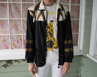 Vintage 80s Gold Black Color Block Windbreaker Track Jacket