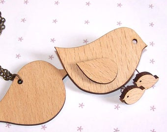 """KIT """"BIRD"""" wooden pendant, brooch, a pair of Earrings to paint, varnish, engrave, decorate!"""