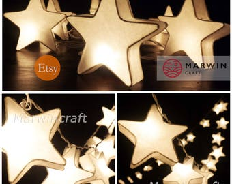 LED Battery or Plug 20,35 White Stars LANTERN Paper Mulburry Fairy String Lights Party Patio Wedding Hanging Gift Home Decor Bedroom Holiday
