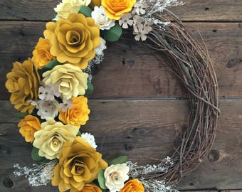 Sunshine Paper Flower Wreath With Dried Accent Flowers
